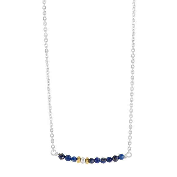 Delicate Stone Stack Necklace in Lapis