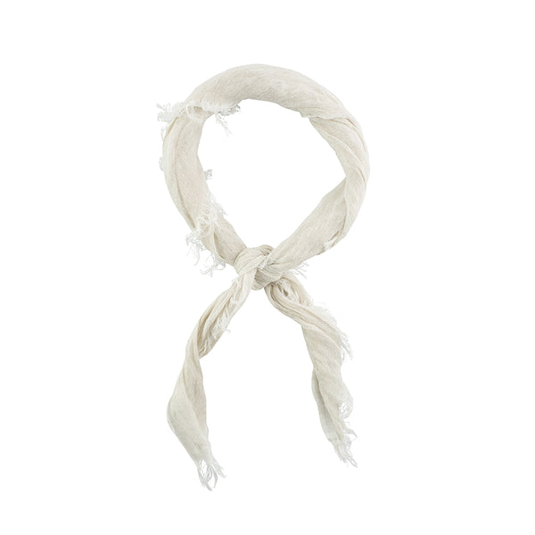 Summer Linen Bandanna in White Sand