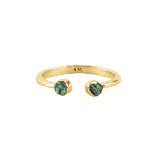 Souffle Stone Stacker Ring in 3.5mm Chrysocolla and Gold
