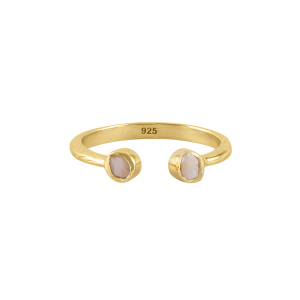 Souffle Stone Stacker Ring in 3.5mm Pink Opal and Gold