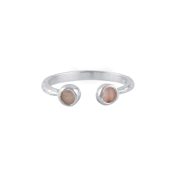 Souffle Stone Stacker Ring in 3.5mm Pink Opal and Silver