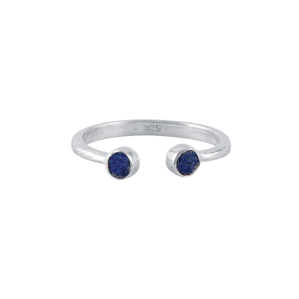 Souffle Stone Stacker Ring in 3.5mm Lapis and Silver