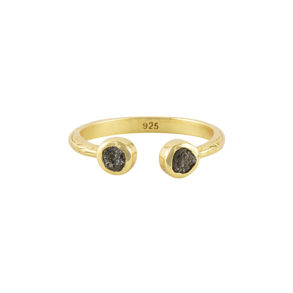 Souffle Stone Stacker Ring in 3.5mm Raw Diamond and Gold