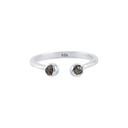 Souffle Stone Stacker Ring in 3.5mm Raw Diamond and Silver