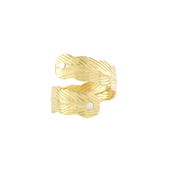 Feather Wrap Ring in Gold