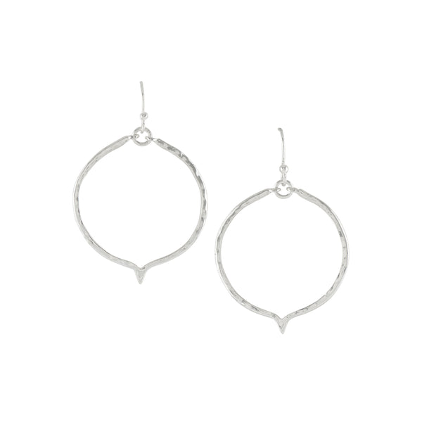 Thoughtful Hanging Hoops in Silver