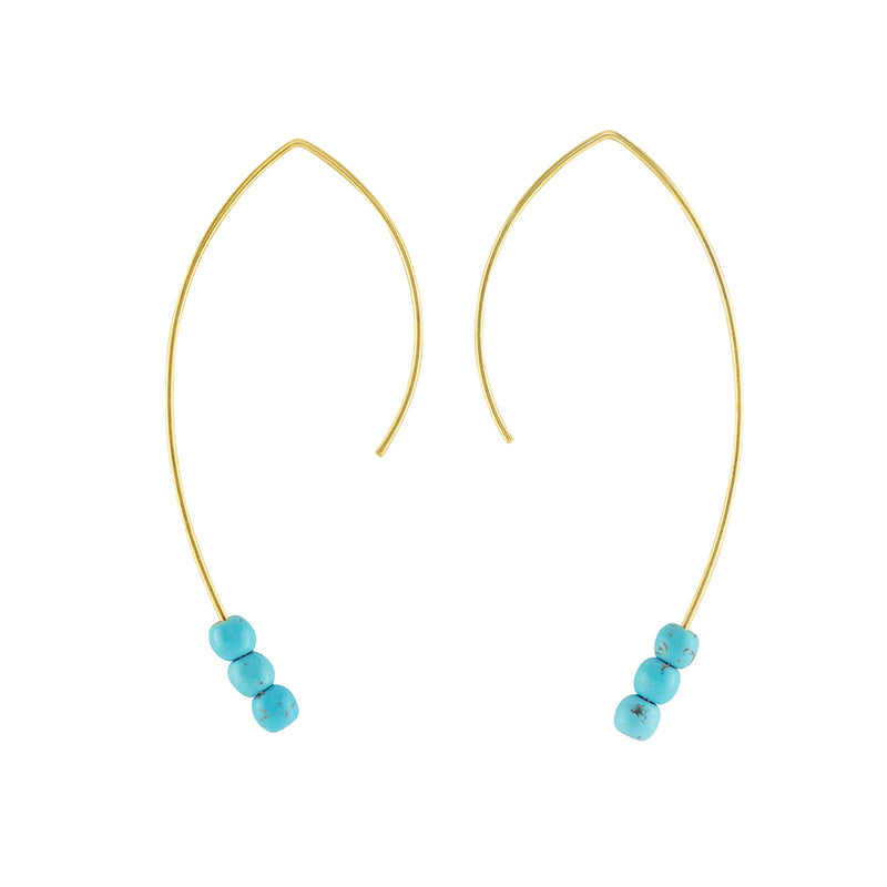 Curved Turquoise Open Hoops