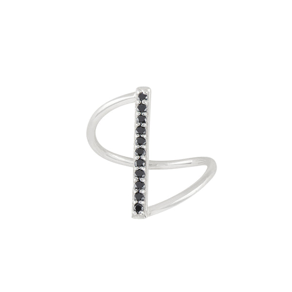 Fine Line Ring in Black CZ and Silver