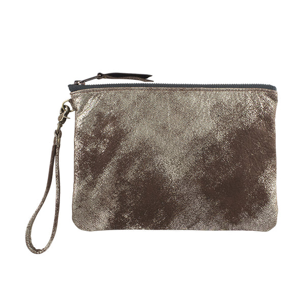 Leather Go-Bag in Pewter Metallic
