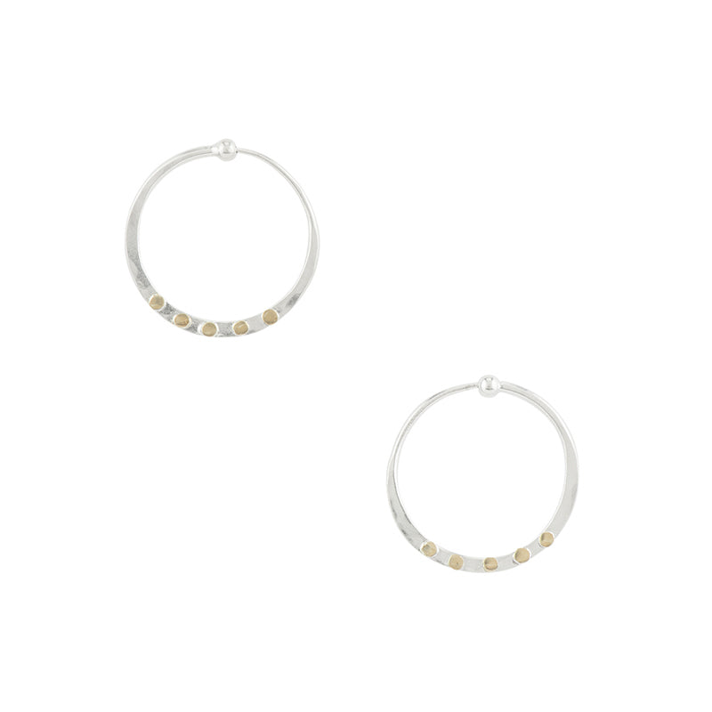 Riveted Hammered Hoops in Silver - 1""