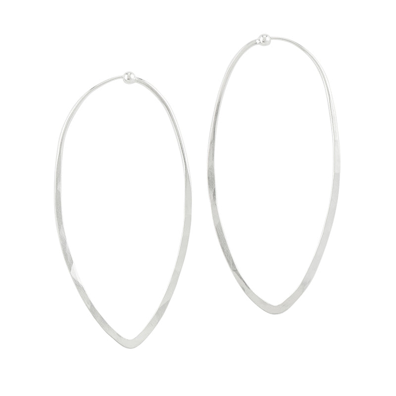 Tapered Point Hoops - Large in Silver