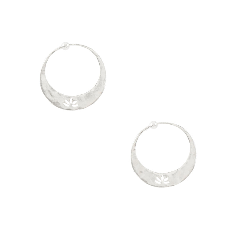Lotus Hoops in Silver - 1""