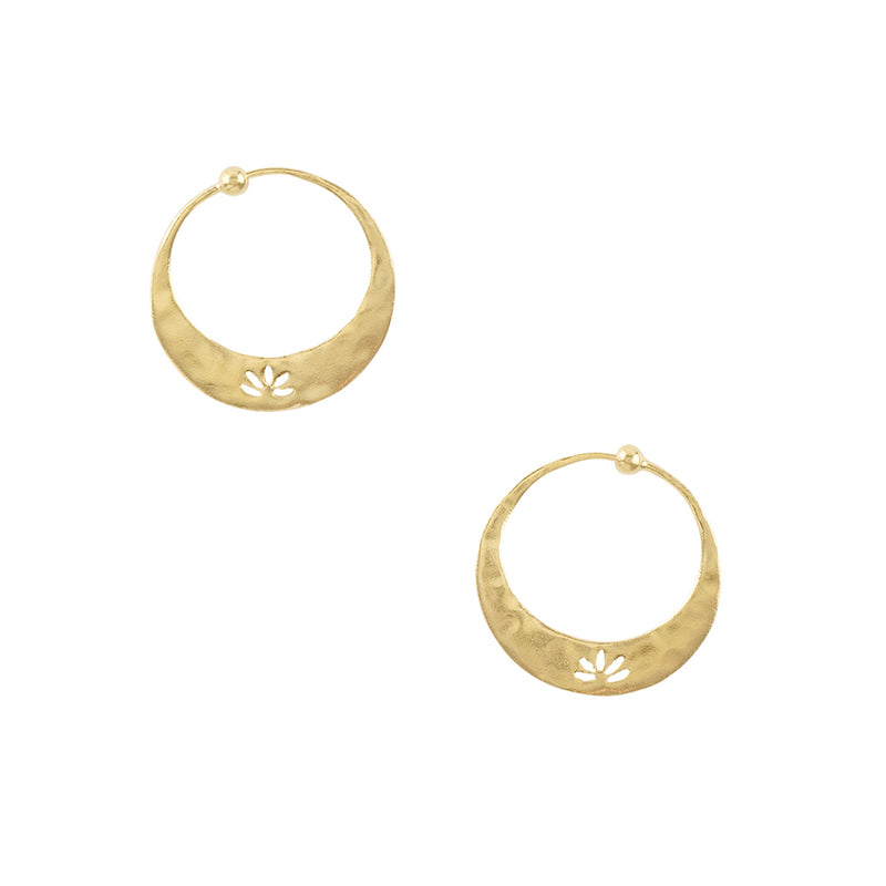 Lotus Hoops in Gold - 1"