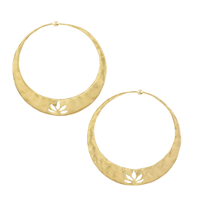 Lotus Hoops in Gold - 2""