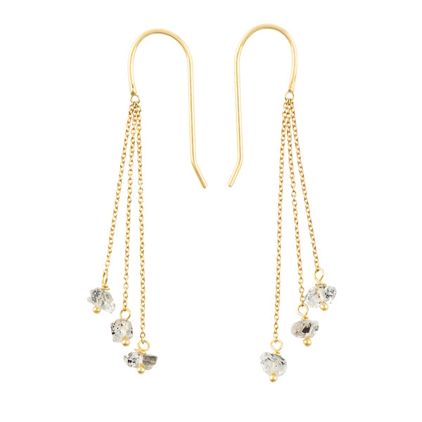 Herkimer Trio Threader Earring in Gold