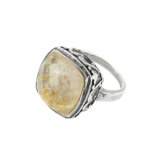 Cushion Cut Cocktail Ring in Rutilated Quartz & Antiqued Sterling