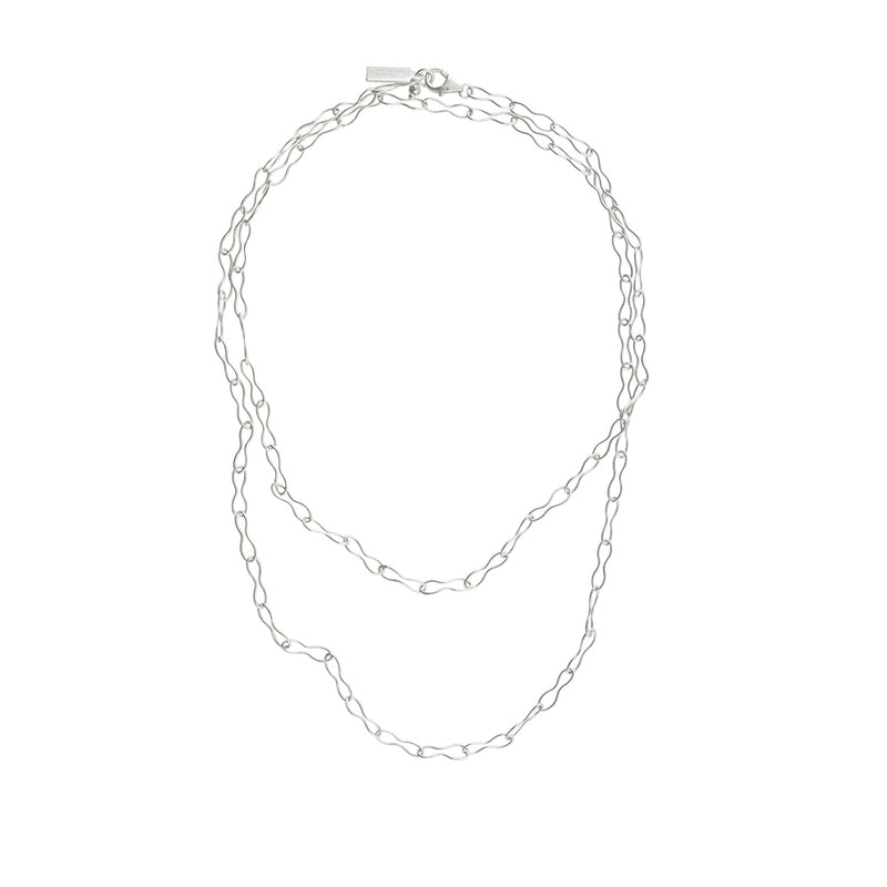 Peanut Link Chain Necklace in Silver