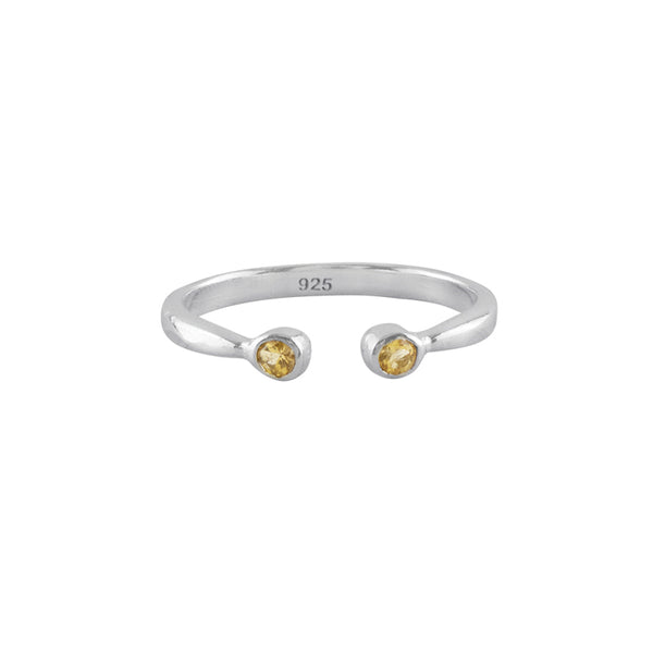 Souffle Stone Stacker Ring in Citrine and Silver