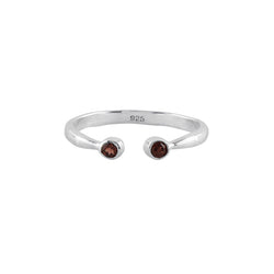 Souffle Stone Stacker Ring in Garnet and Silver | Available to Ship 1/29