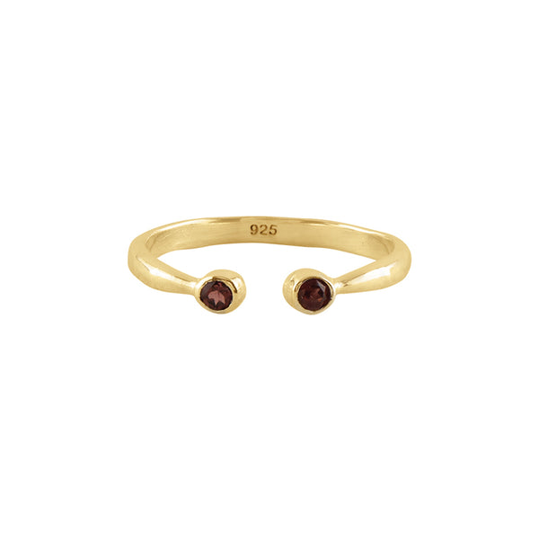 Souffle Stone Stacker Ring in Garnet and Gold | Available to Ship 1/29
