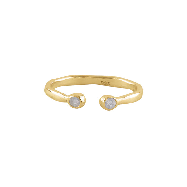 Souffle Stone Stacker Ring in Moonstone and Gold
