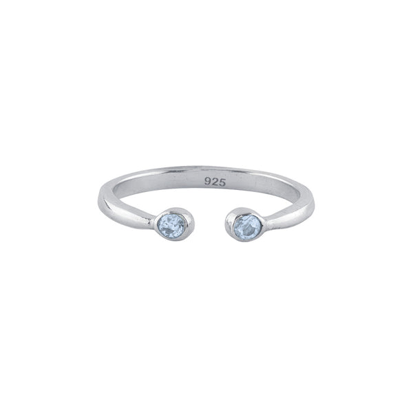 Souffle Stone Stacker Ring in Topaz and Silver
