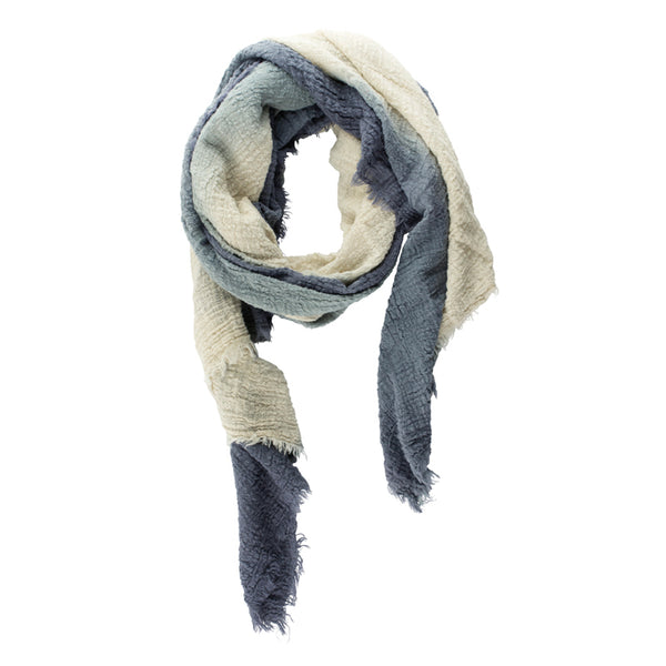 Organic Cotton Dip-Dyed Wrap Scarf in Blue-Natural