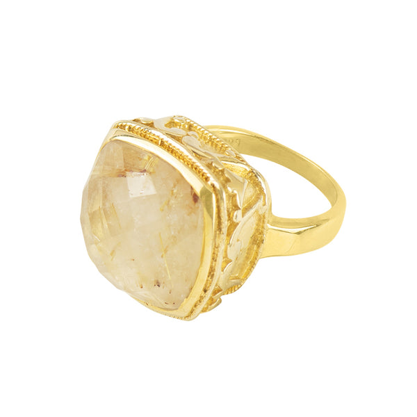 Cushion Cut Cocktail Ring in Rutilated Quartz and Gold
