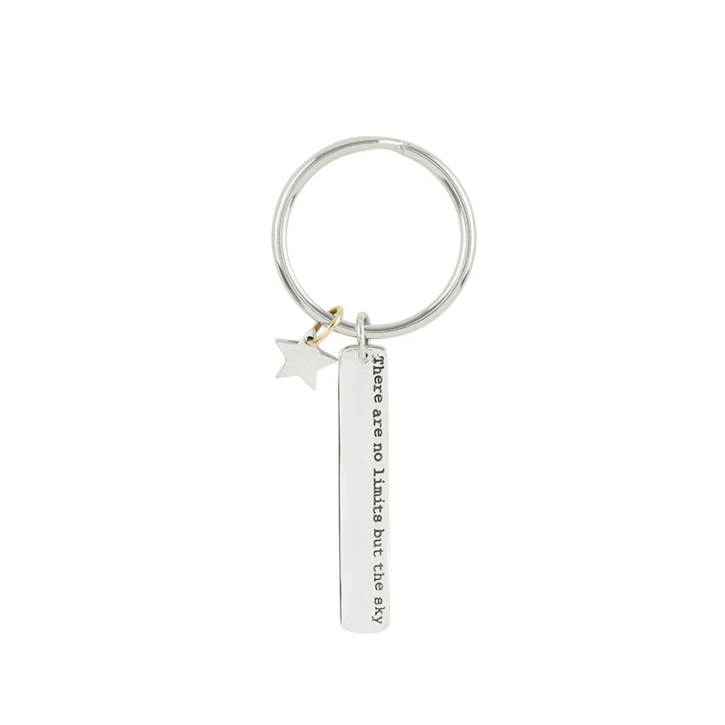"Sterling Silver Inspo Keychain - ""No Limits but the Sky"""