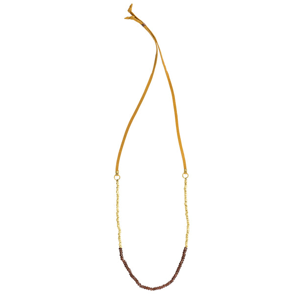 Tethered Stone Strand Necklace in Garnet
