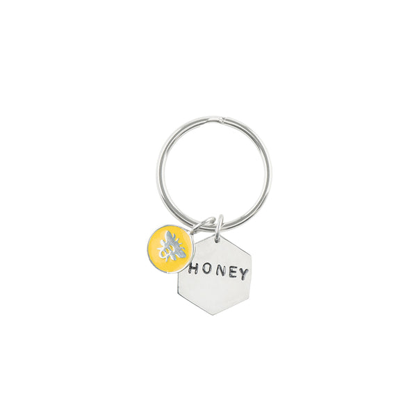 "Sterling Charmed Keychain - ""Honey"""