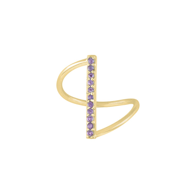 Fine Line Ring in Amethyst and Gold