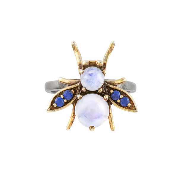Jeweled Cornu Ring in Moonstone and Lapis