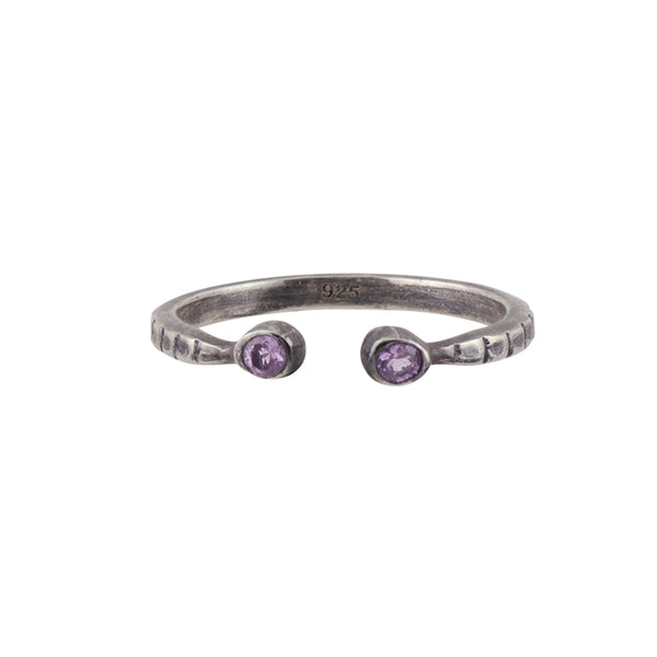 Soufflé Stacker Ring in Amethyst and Antiqued Silver