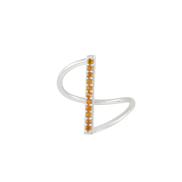 Fine Line Ring in Carnelian and Silver