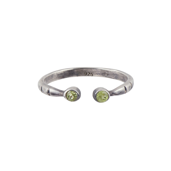 Soufflé Stacker Ring in Peridot and Antiqued Silver