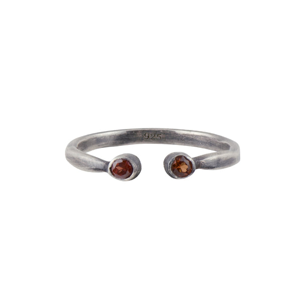 Soufflé Stacker Ring in Garnet and Antiqued Sterling Silver