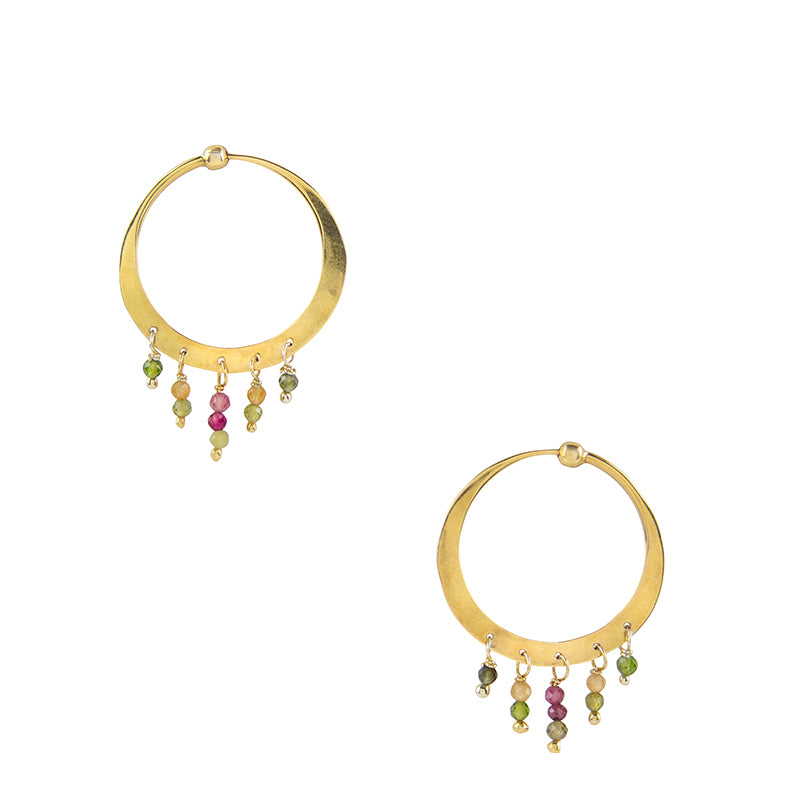 Dancing Stone Hoops in Gold - 1""