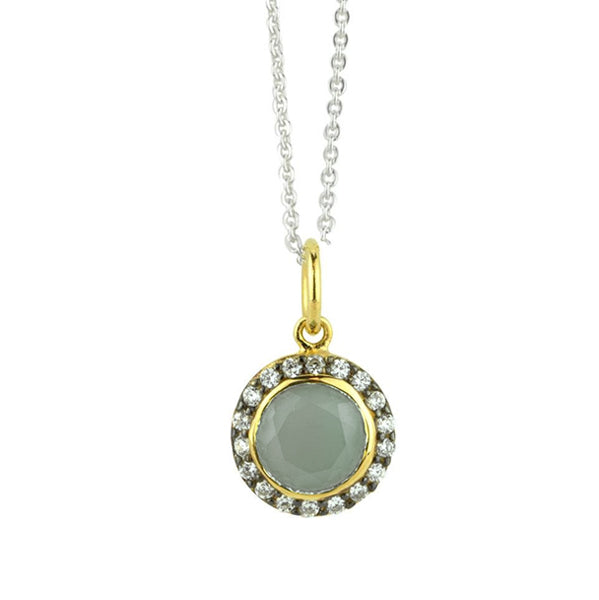 Jeweled Halo Necklace In Smoky Chalcedony