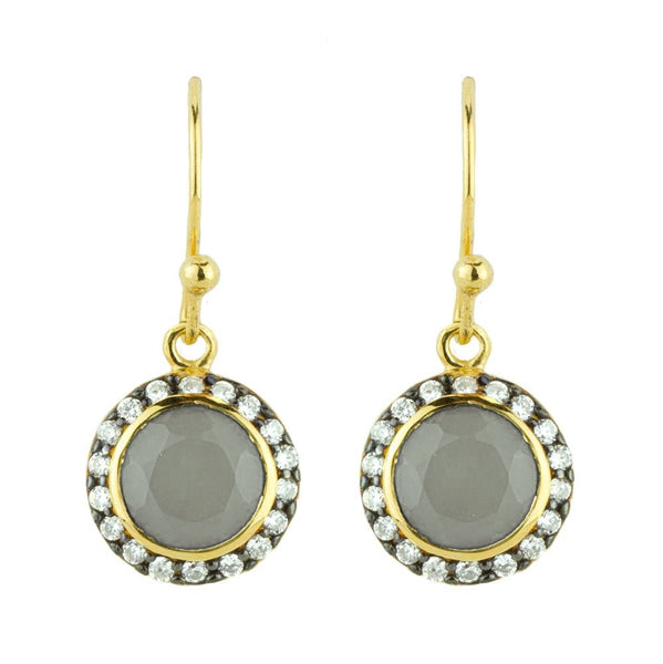 Jeweled Halo Earrings in Smoky Chalcedony