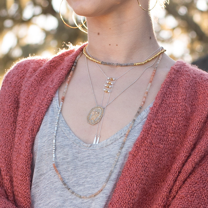 Ladder Lariat Necklace in Silver
