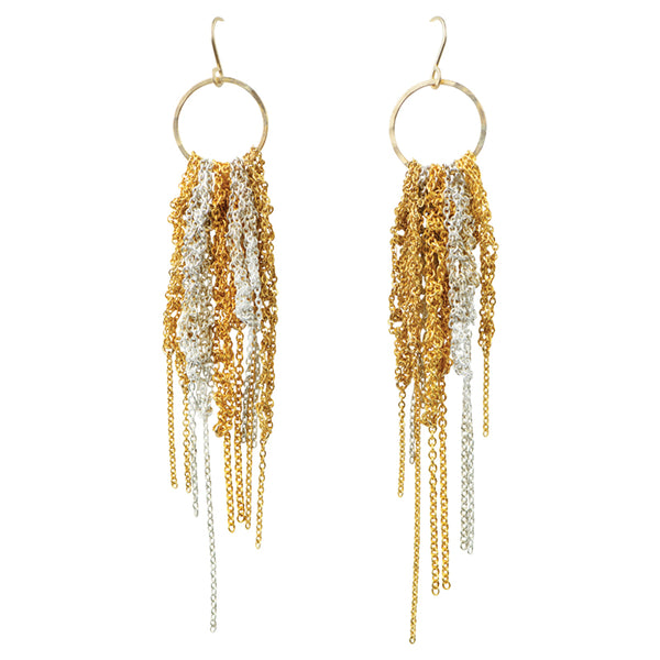 Chain Macrame Earrings in Silver and Gold