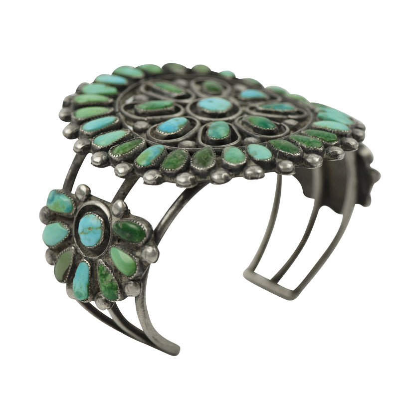 Vintage Turquoise Blossom Petit Point Cuff