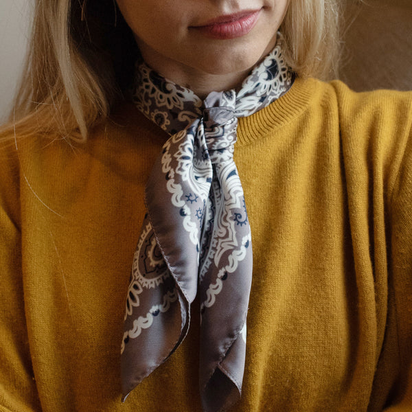 Classic Silk Bandanna in Pewter