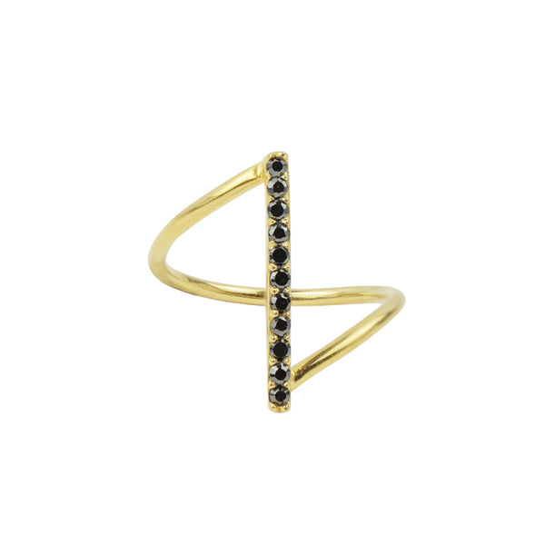 It's A Fine Line Ring in Gold and Black CZ