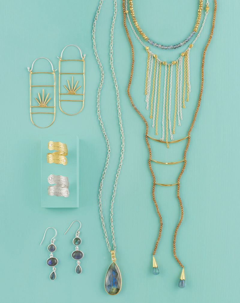 Falling Fringe Necklace in Silver & Gold