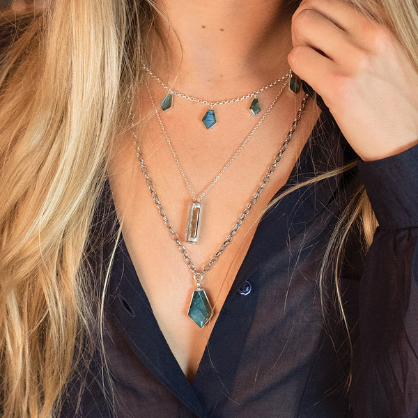 Multifaceted Labradorite Necklace
