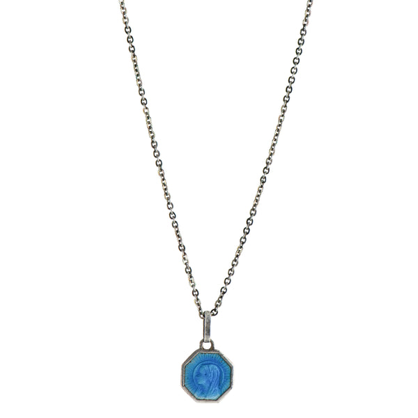 Blue Enamel Vintage Saint Necklace -  #11