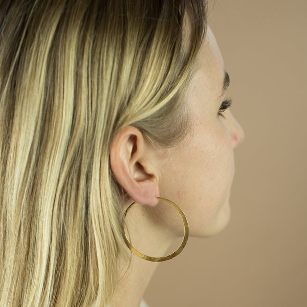 Hammered Hoops  in Gold - 2""