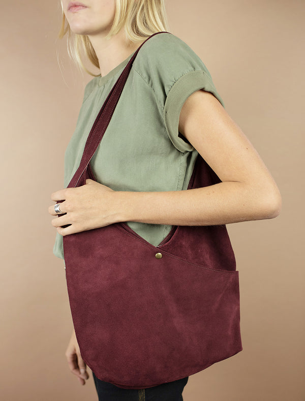 Super Soft Suede Bag in Pinot